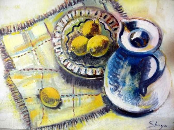 nature morte peinture à l `huile citrons et pichet