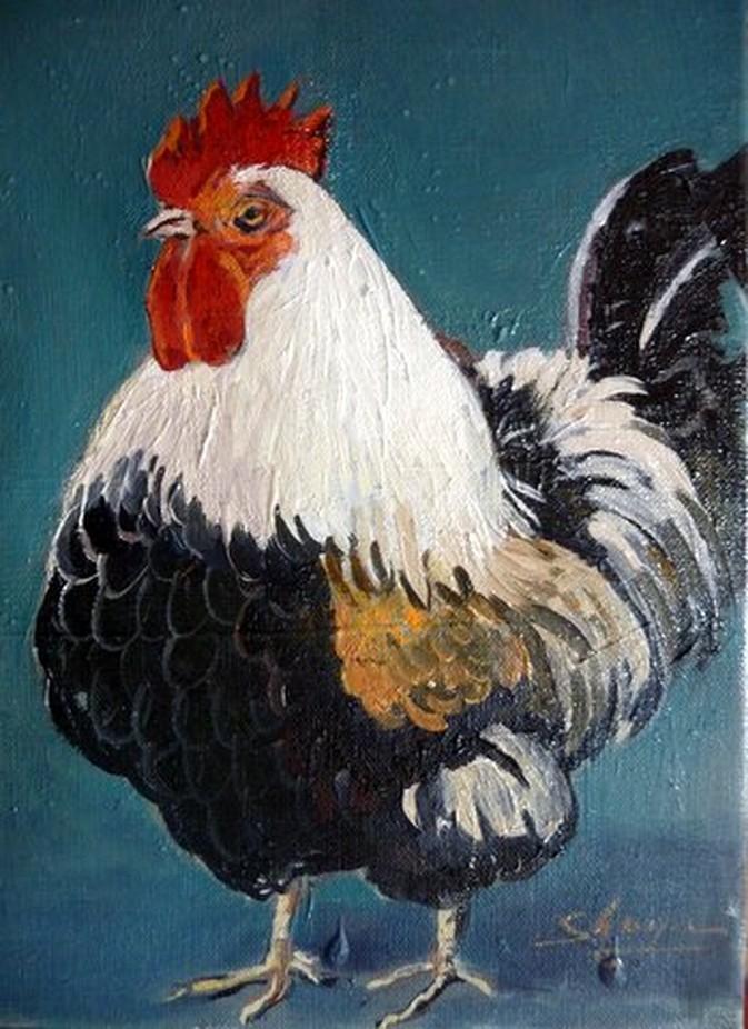 coq peinture à l` huile