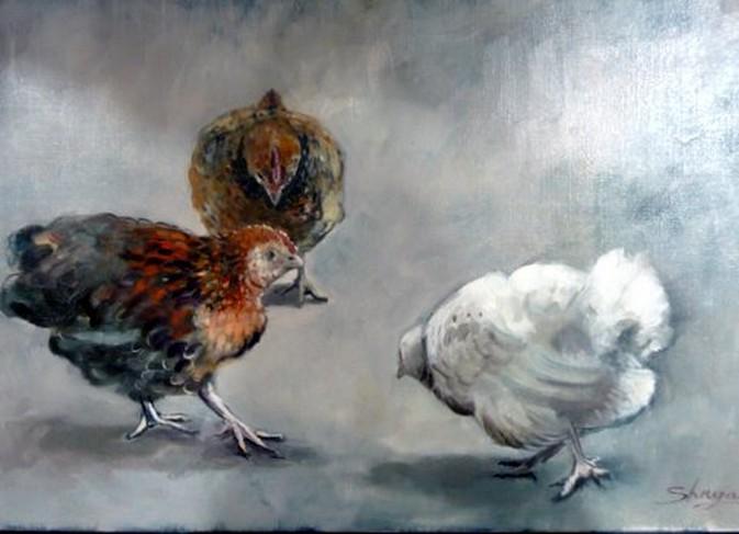 huile sur toile : 3 poules
